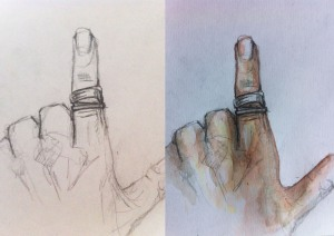 Hand and Rings PencilColour